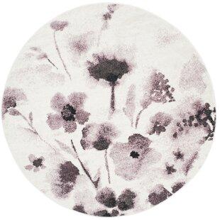 Rowley Regis Ivory/Purple Area Rug by House of Hampton
