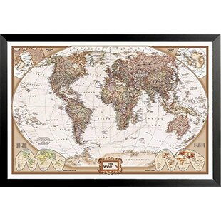 World map framed art youll love wayfair national geographic map executive style rectangle framed print gumiabroncs Gallery