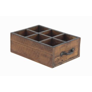 Gean Rustic Rectangular Wood 6 Bottle Tabletop Wine Rack