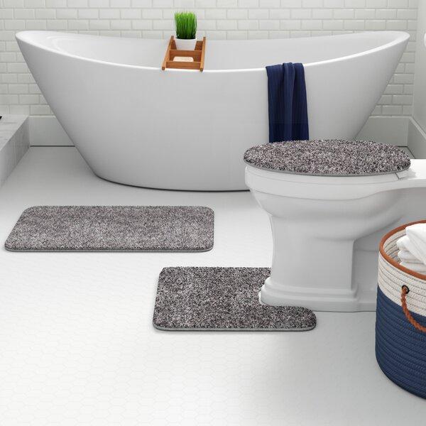 Sun Moon Bathroom Rug Set Shower Curtain Skidproof Toilet Lid Cover Bath Mat
