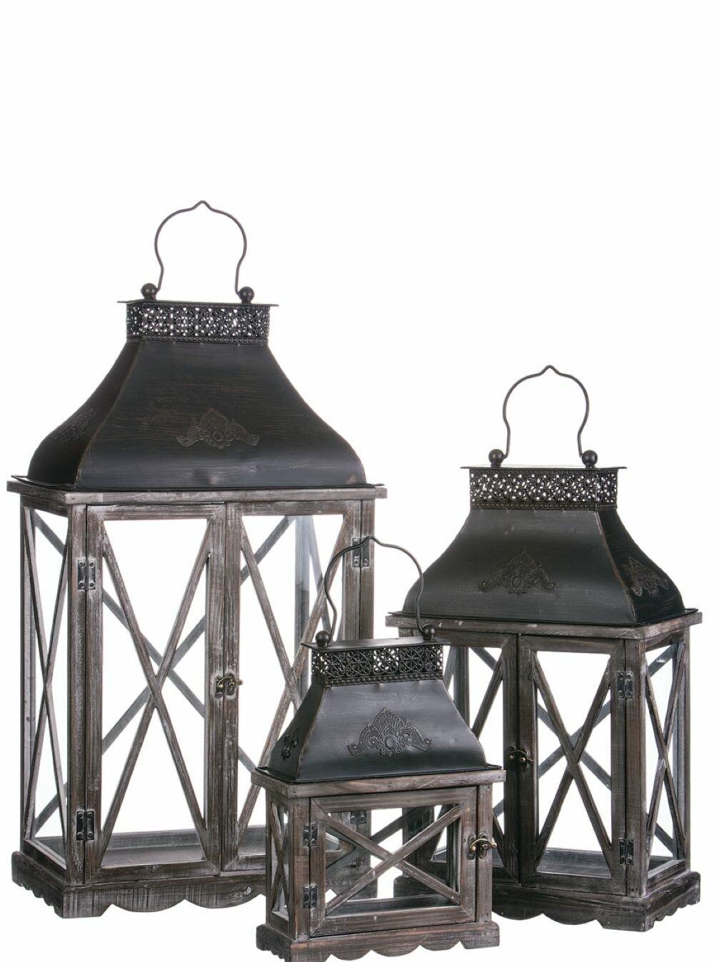 Embossed Top Metal Lantern Set