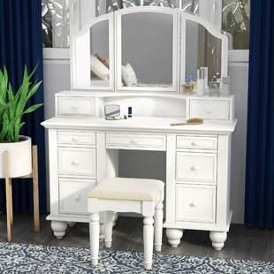 White Vanity Desk With Mirror.Anthonyson Transitional Vanity Set With Stool And Mirror