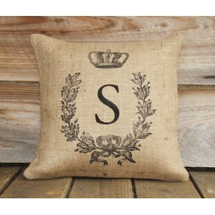 Monogram Personalized Burlap Throw Pillow