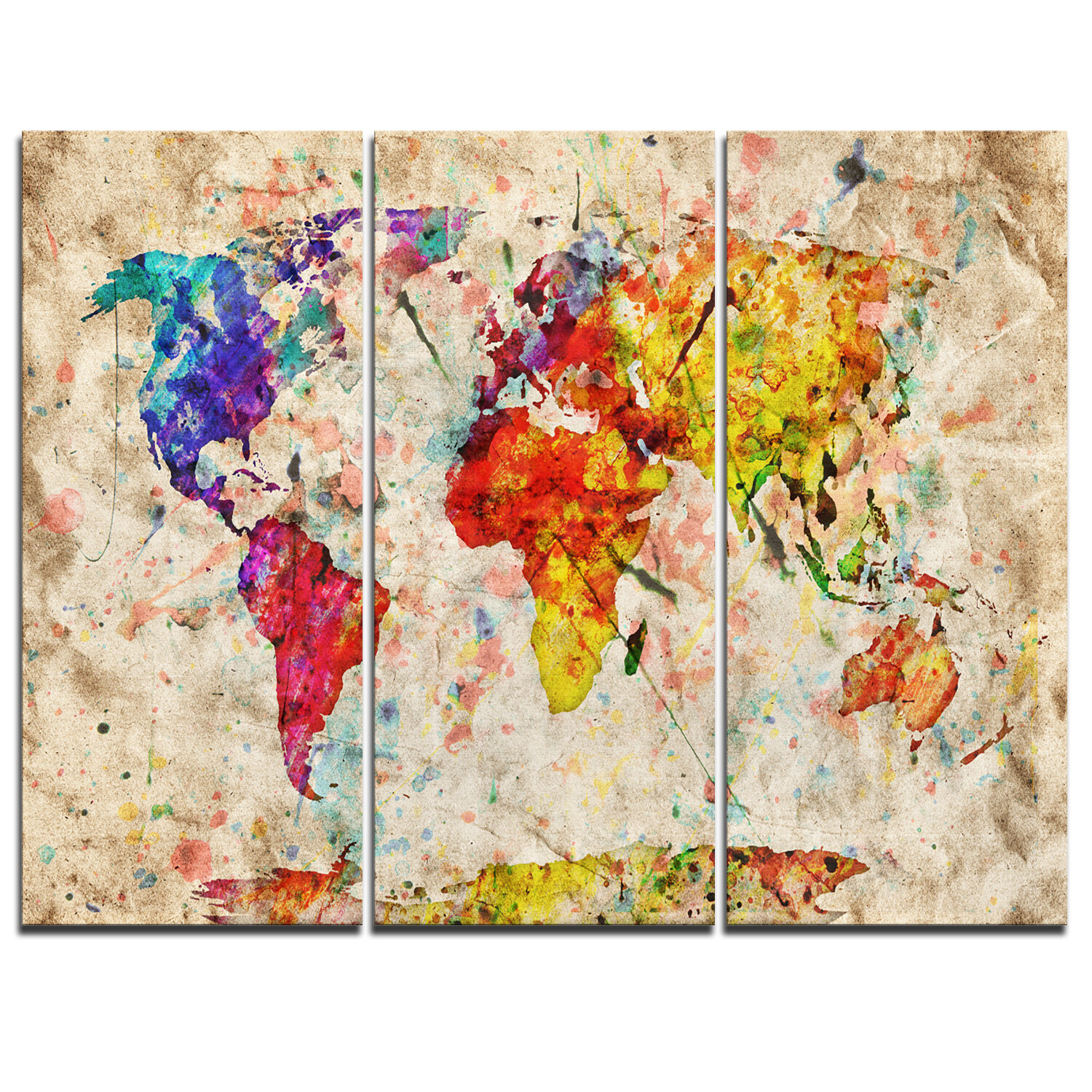 Ebern Designs Vintage World Map Watercolor 3 Piece Graphic Art On Wrapped Canvas Set Reviews Wayfair