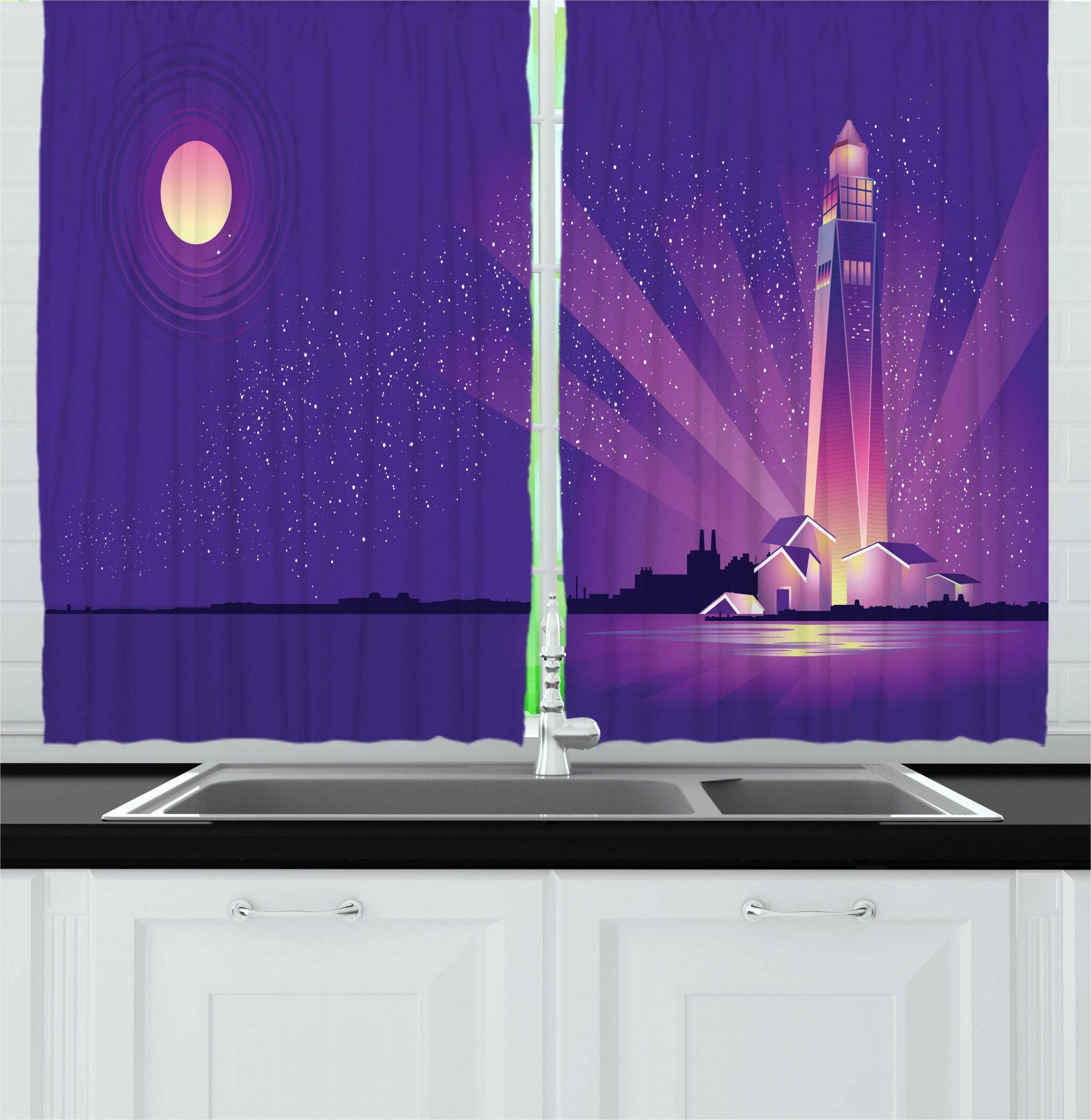 East Urban Home 2 Piece Moon Rays Lighthouse And Coast Under Starry Night Kitchen Curtain Set Wayfair
