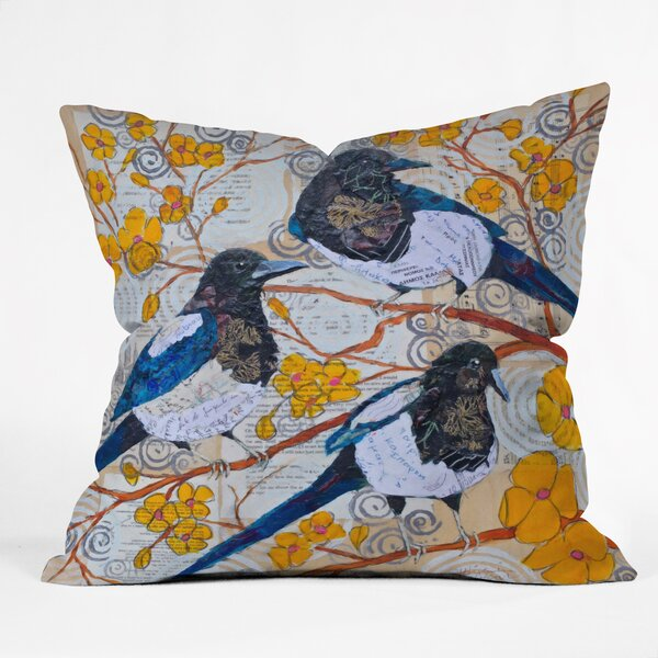 East Urban Home Magpies And Blossoms Throw Pillow Wayfair