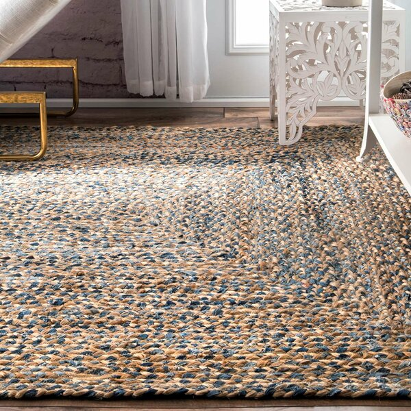 Destrie Hand Braided Cotton Blue Area Rug by Joss & Main