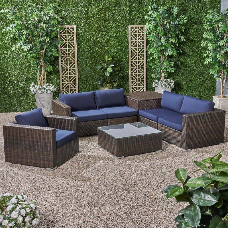 Brayden Studio Roxann Outdoor 5 Seater Wicker Sectional Sofa Set ...