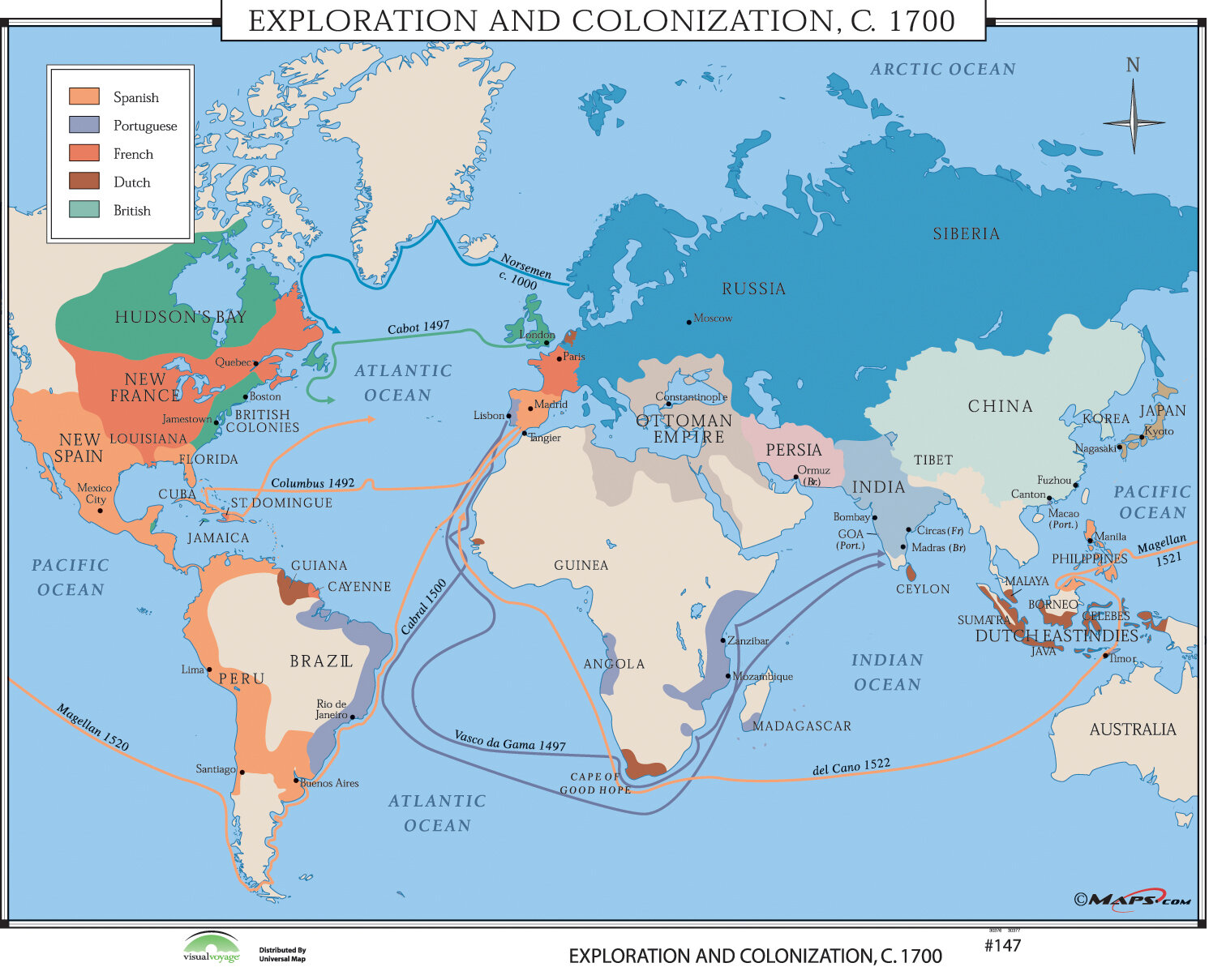 World History Wall Maps - Exploration & Colonization 1700