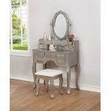 Yonkers Vanity Set with Stool and Mirror by House of Hampton®