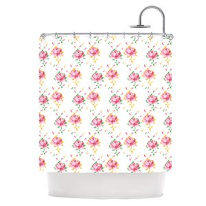 Cross Stitch Flowers Shower Curtain