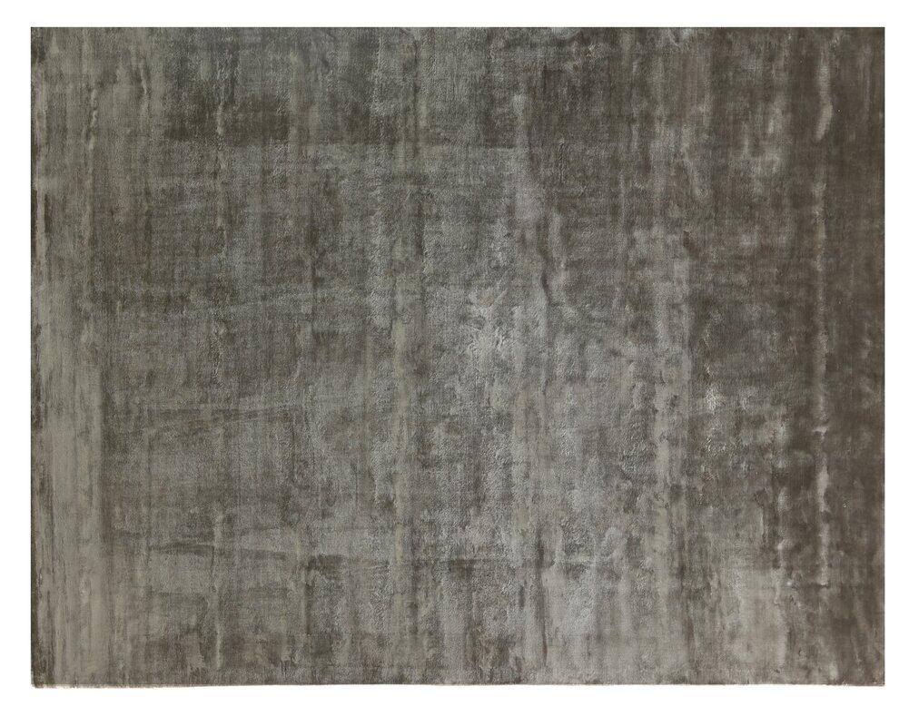 Plain Dove Hand Knotted Silk Dark Gray Area Rug