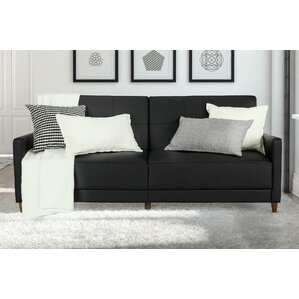 Benitez Faux Leather Convertible Sofa by Mercury Row
