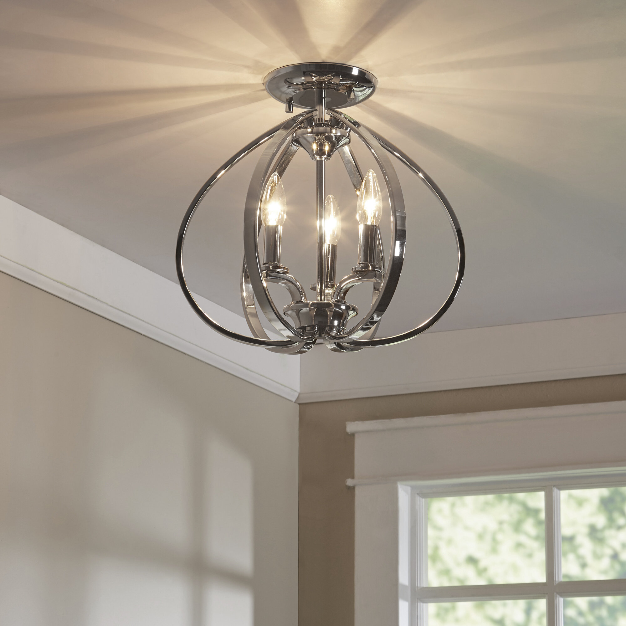 "Edgebrooke 9 - Light 9"" Chandelier Style Geometric Semi Flush Mount"