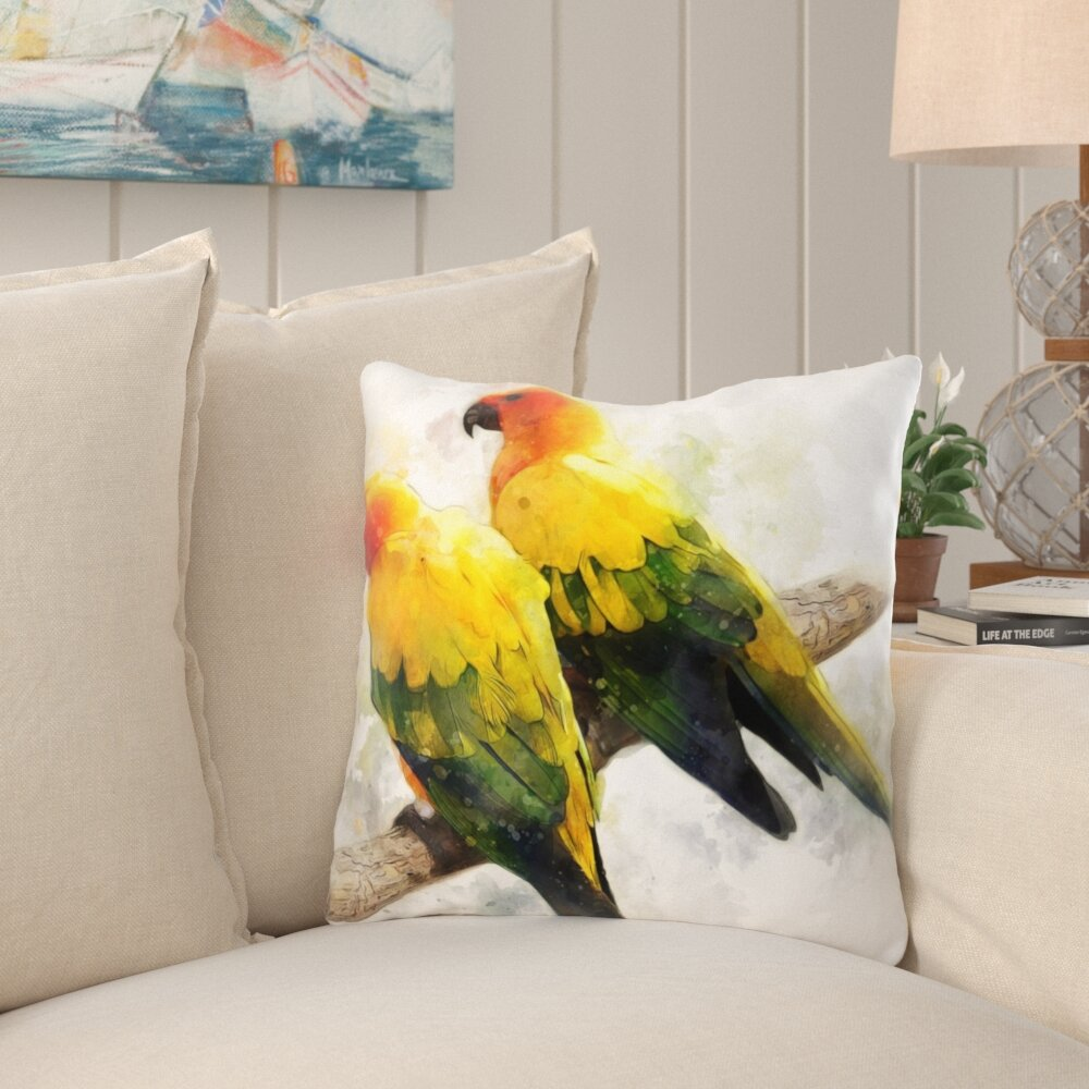 Bay Isle Home Ulysses Parakeet Throw Pillow Wayfair