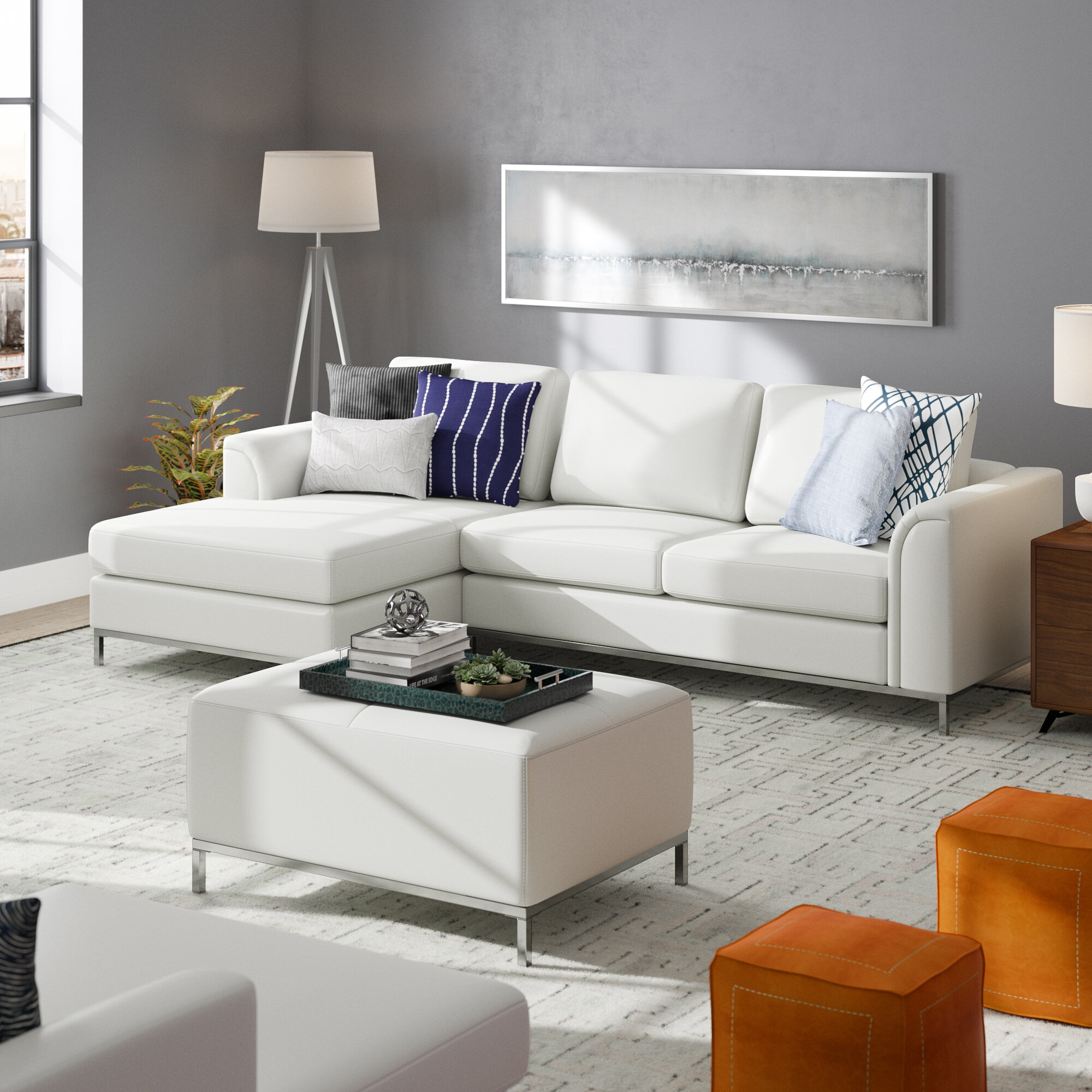 Terrific Catlett Leather Sectional With Ottoman Alphanode Cool Chair Designs And Ideas Alphanodeonline