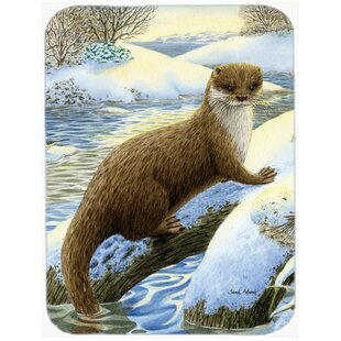 Otter on the Bank Glass Cutting Board By Caroline's Treasures