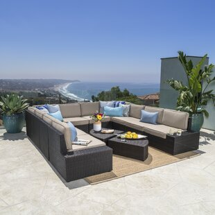 Donahoe 12 Piece Rattan Sectional Set with Cushions