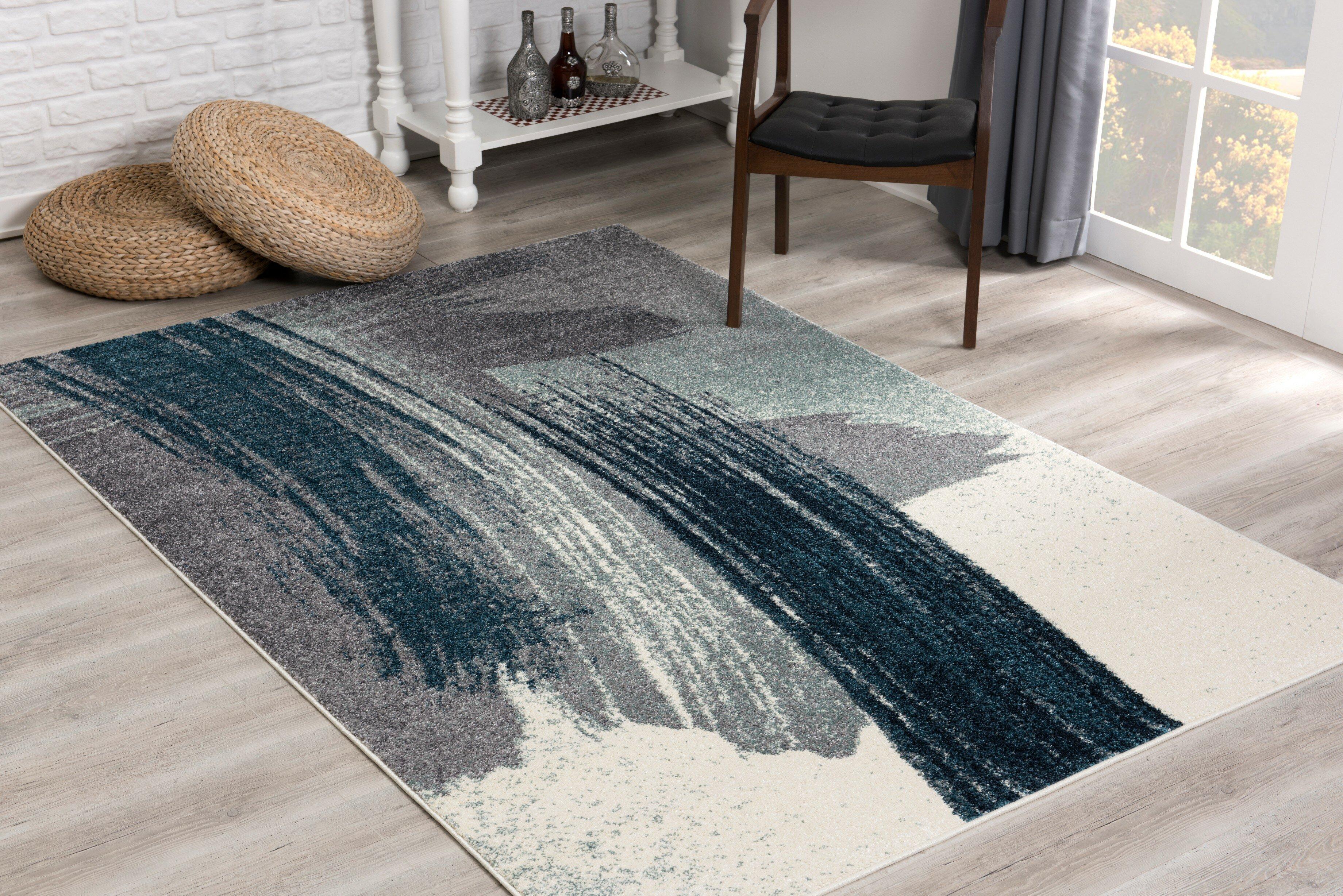 Orren Ellis Leiston Abstract Gray Area Rug Reviews Wayfair