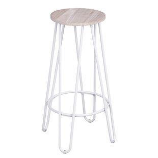 Avery 74cm Bar Stool In Oak/White (Set Of 2) By Zipcode Design