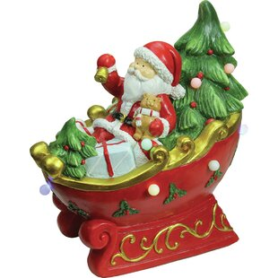 led lighted and musical santa in a sleigh decorative christmas tabletop figure - Decorative Christmas Sleigh Sale