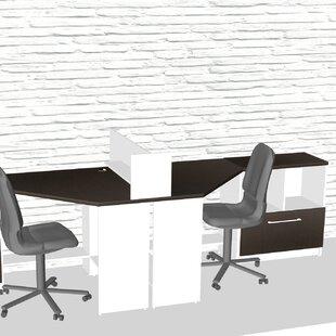 TeamCENTERoffice Triangular Corner 5 Piece L-Shaped Desk Office Suite