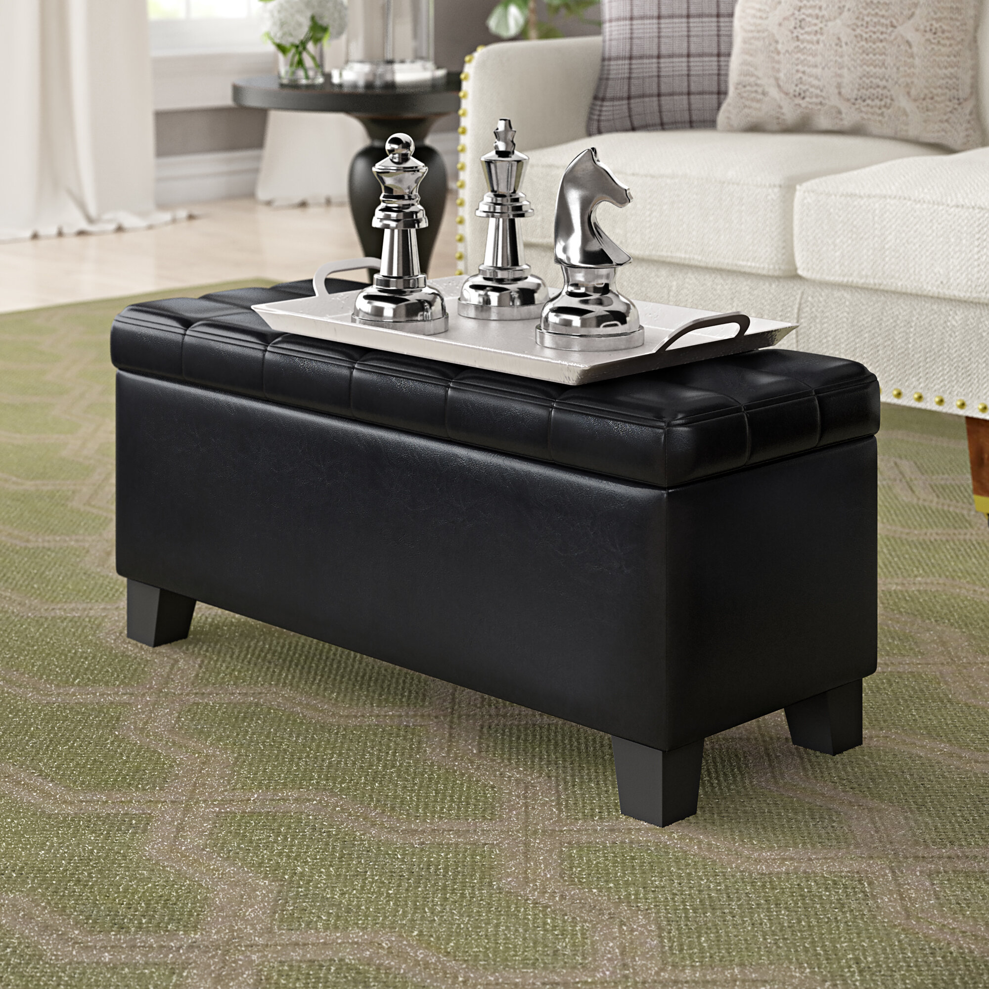 Pina Faux Leather Tufted Storage Ottoman