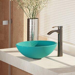 Online Reviews Glass Circular Vessel Bathroom Sink with Faucet ByRené By Elkay