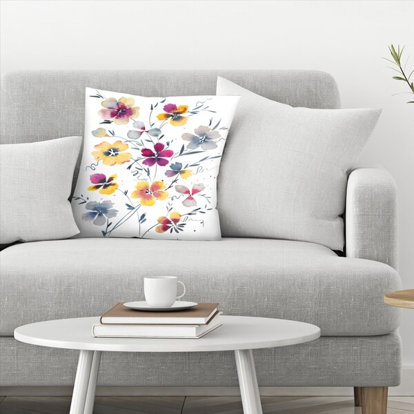 East Urban Home Victoria Nelson Pansies Watercolor Floral Throw Pillow Wayfair