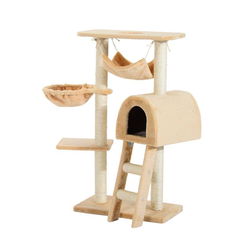 aosom arbre chat de luxe avec poteaux griffer 52 po pawhut et commentaires