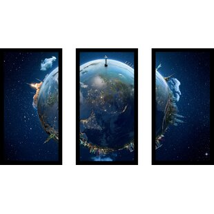 Picture Perfect InternationalEarth Framed Plexiglass Wall Art Set of 3