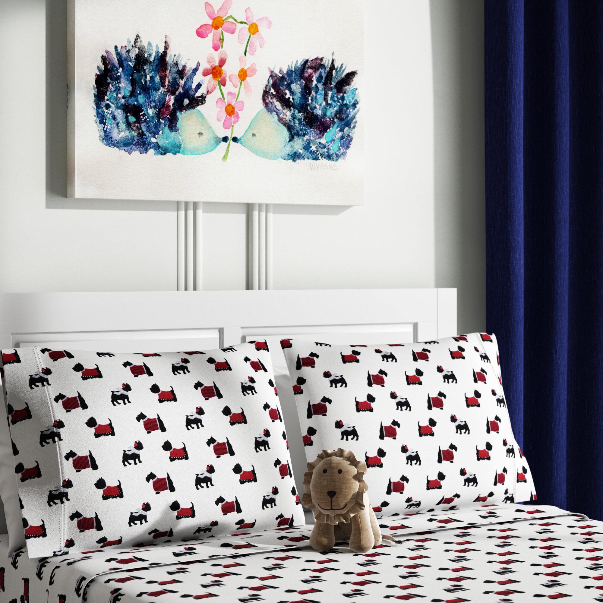Ivy Bronx Devonport Dogs 100 Cotton Flannel Sheet Set Reviews Wayfair