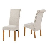 Stickles Linen Parsons Chair in Beige (Set of 2) by Canora Grey