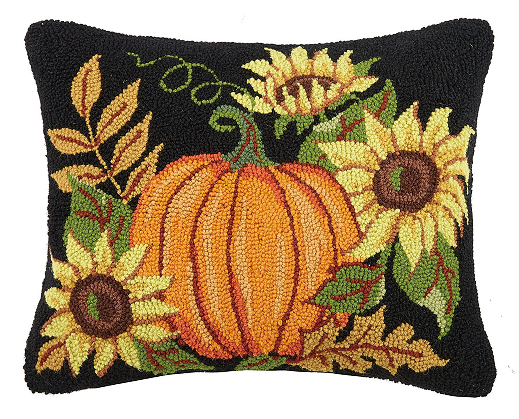 August Grove Murphree Pumpkin With Sunflowers Wool Throw Pillow Wayfair Ca