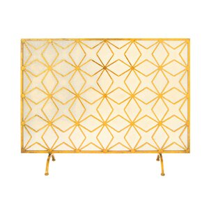 Single Panel Iron Fireplace Screen By Cole & Grey