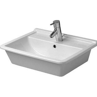 Read Reviews Starck Ceramic Rectangular Drop-In Bathroom Sink with Overflow By Duravit