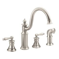 Moen Waterhill Double Handle Kitchen Faucet with Side Spray and Duralock™