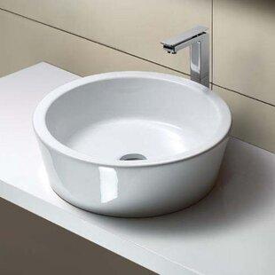 Traccia Ceramic Circular Vessel Bathroom Sink ByGSI Collection