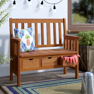 Beachcrest Home Pine Hills 3 Drawer Wood Garden Bench