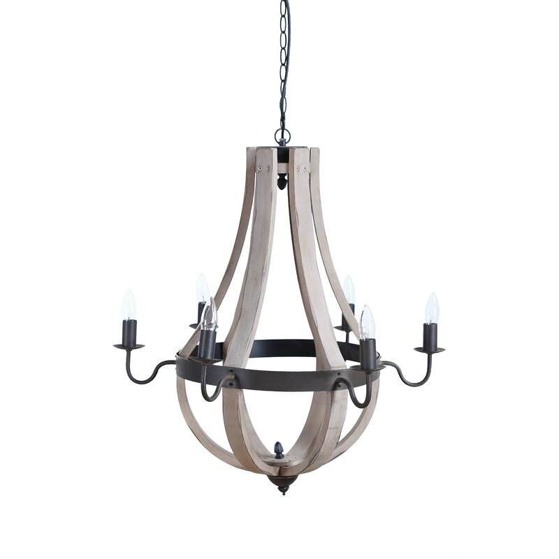 Phifer 6 - Light Candle Style Empire Chandelier with Wood Accents