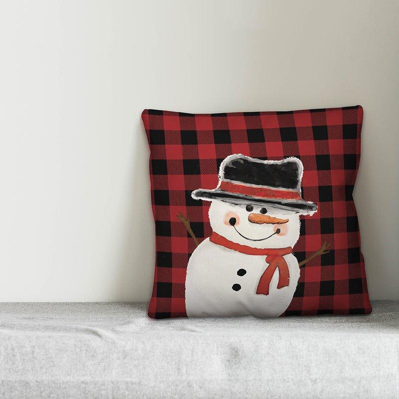 The Holiday Aisle Tirado Winter Snowman Throw Pillow Cover Wayfair