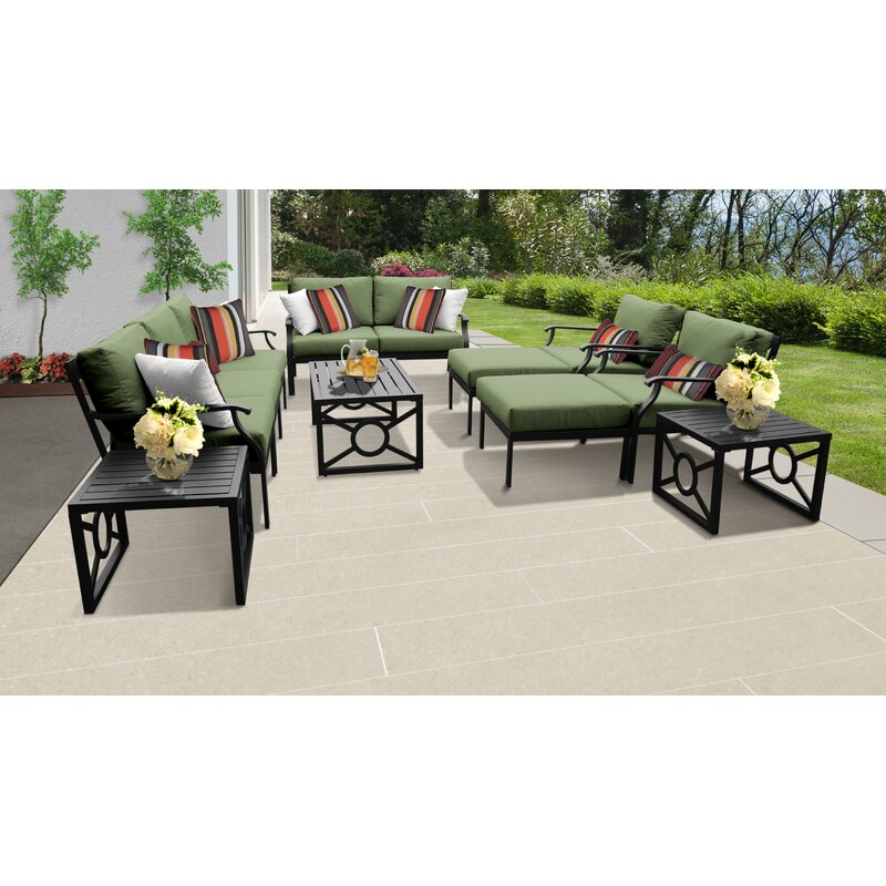 Darby Home Co Madison Ave. 12 Piece Sectional Seating Group with Cushions  Cushion Color: Forest