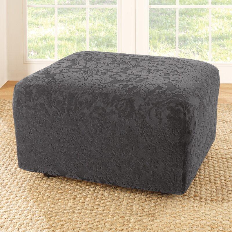 Stretch Jacquard Damask Box Cushion Ottoman Slipcover