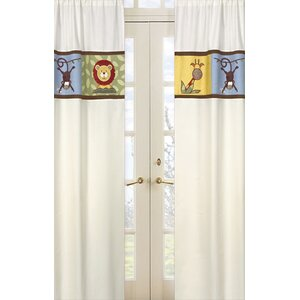 Jungle Time Wildlife Semi-Sheer Rod pocket Curtain Panels (Set of 2)