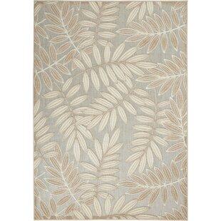 Seaside Contemporary Leaves Flatweave Beige/Gray Indoor/Outdoor Area Rug