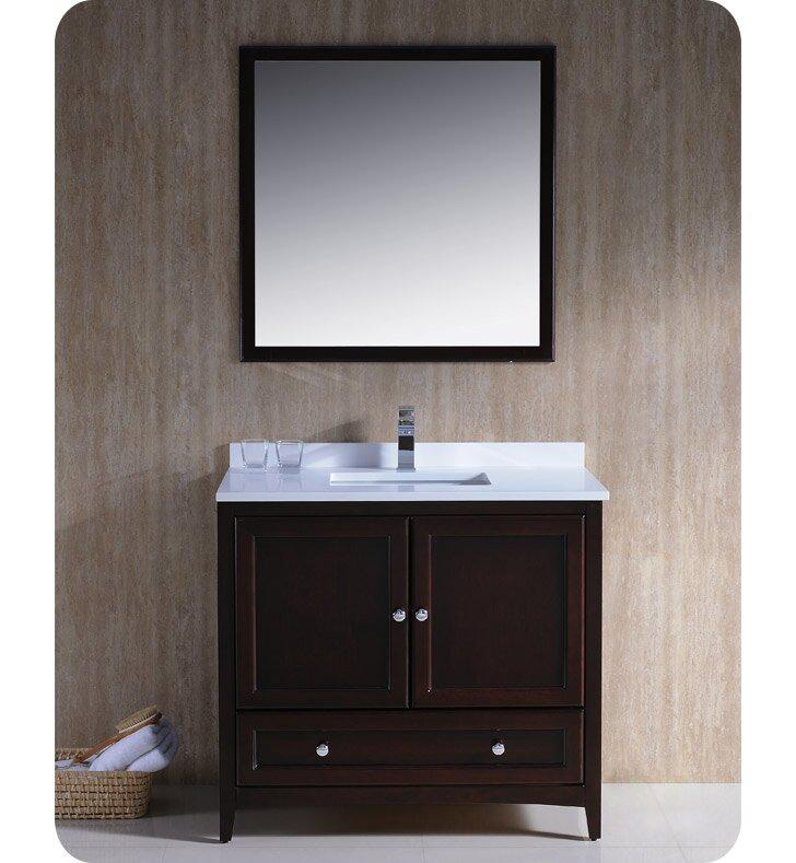 "Bathroom Mirror And Vanity Set fresca oxford 36"" single traditional bathroom vanity set with"