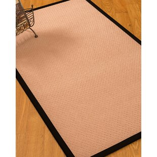 Look for Farnham Border Hand-Woven Wool Pink/Black Area Rug By Breakwater Bay