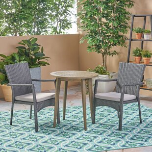 Bungalow Rose BolesworthOutdoor 3 Piece Bistro Set with Cushions