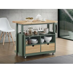 Runyan Dual Tone Kitchen Cart Canora Grey