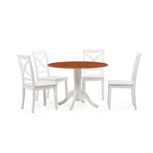 Reiff 5 Piece Drop Leaf Solid Wood Dining Set by Charlton Home